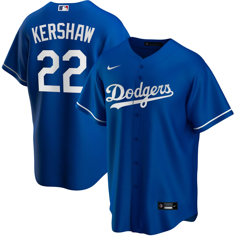 2020 MLB Men Los Angeles Dodgers Clayton Kershaw Nike Royal Alternate 2020 Replica Player Jersey 2