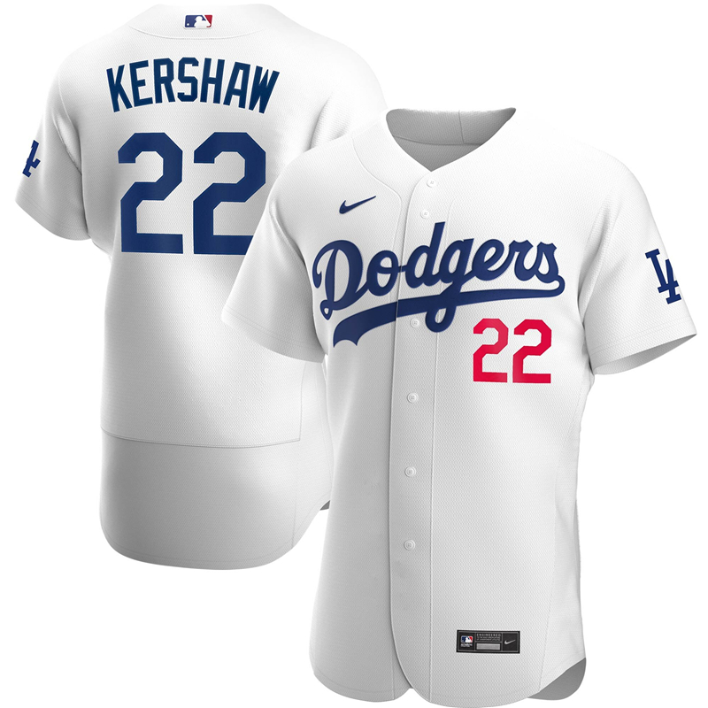 2020 MLB Men Los Angeles Dodgers Clayton Kershaw Nike White Home 2020 Authentic Player Jersey 1