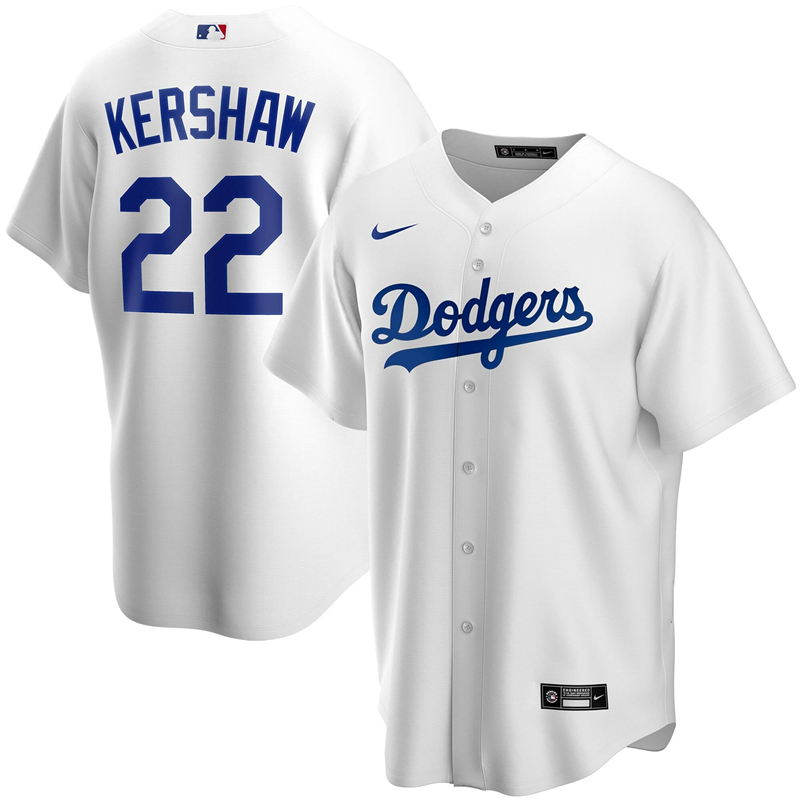 2020 MLB Men Los Angeles Dodgers Clayton Kershaw Nike White Home 2020 Replica Player Jersey 1