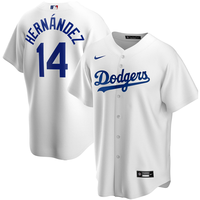 2020 MLB Men Los Angeles Dodgers Enrique Hernandez Nike White Home 2020 Replica Player Jersey 1