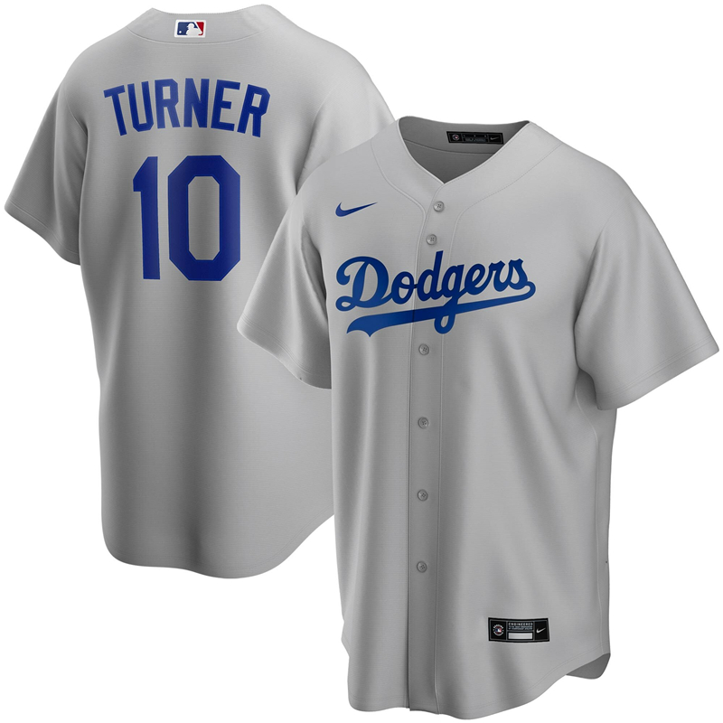 2020 MLB Men Los Angeles Dodgers Justin Turner Nike Gray Alternate 2020 Replica Player Jersey 1