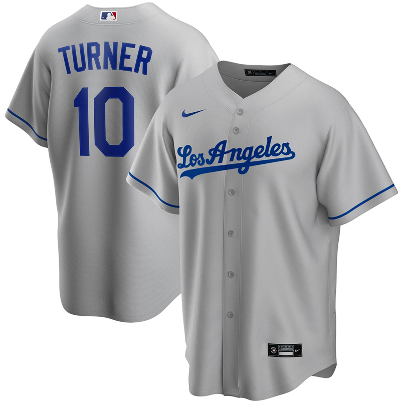 2020 MLB Men Los Angeles Dodgers Justin Turner Nike Gray Road 2020 Replica Player Jersey 1
