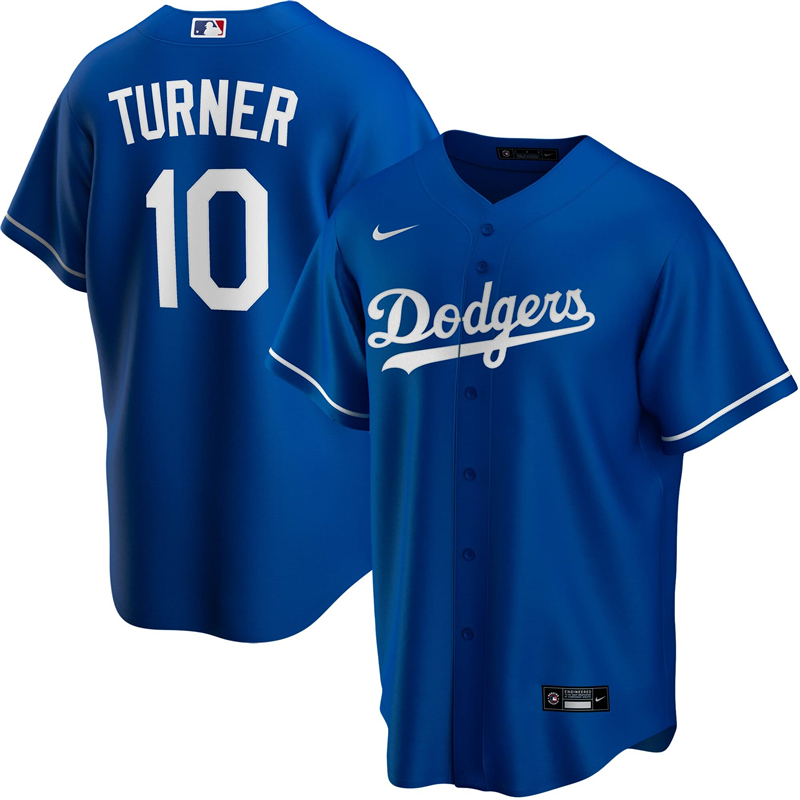 2020 MLB Men Los Angeles Dodgers Justin Turner Nike Royal Alternate 2020 Replica Player Jersey 1