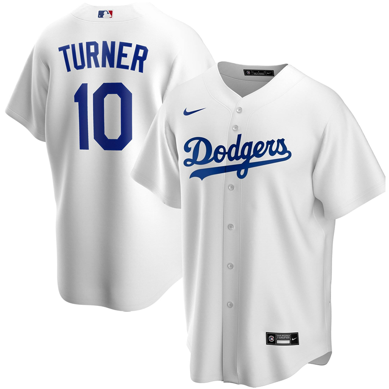 2020 MLB Men Los Angeles Dodgers Justin Turner Nike White Home 2020 Replica Player Jersey 1