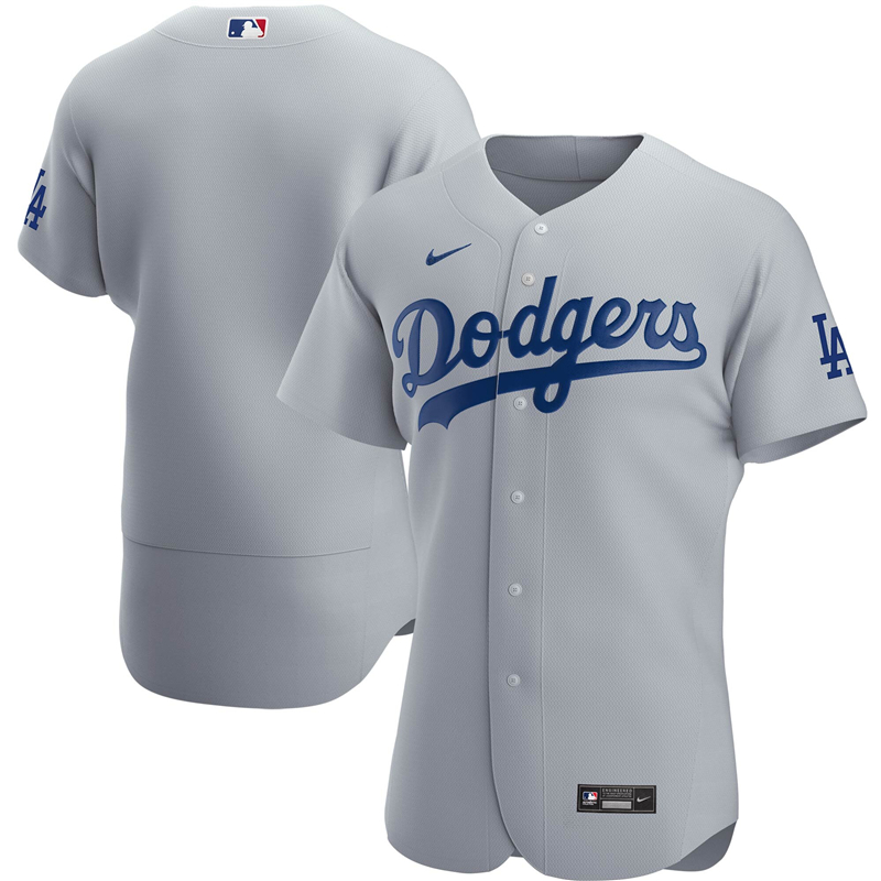 2020 MLB Men Los Angeles Dodgers Nike Gray Alternate 2020 Authentic Team Jersey 1
