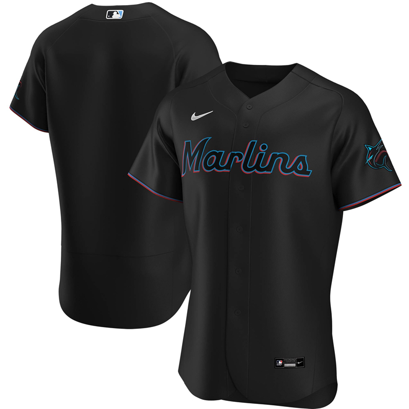 2020 MLB Men Miami Marlins Nike Black Alternate 2020 Authentic Jersey 1