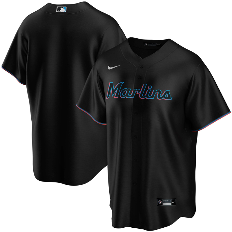 2020 MLB Men Miami Marlins Nike Black Alternate 2020 Replica Team Jersey 1