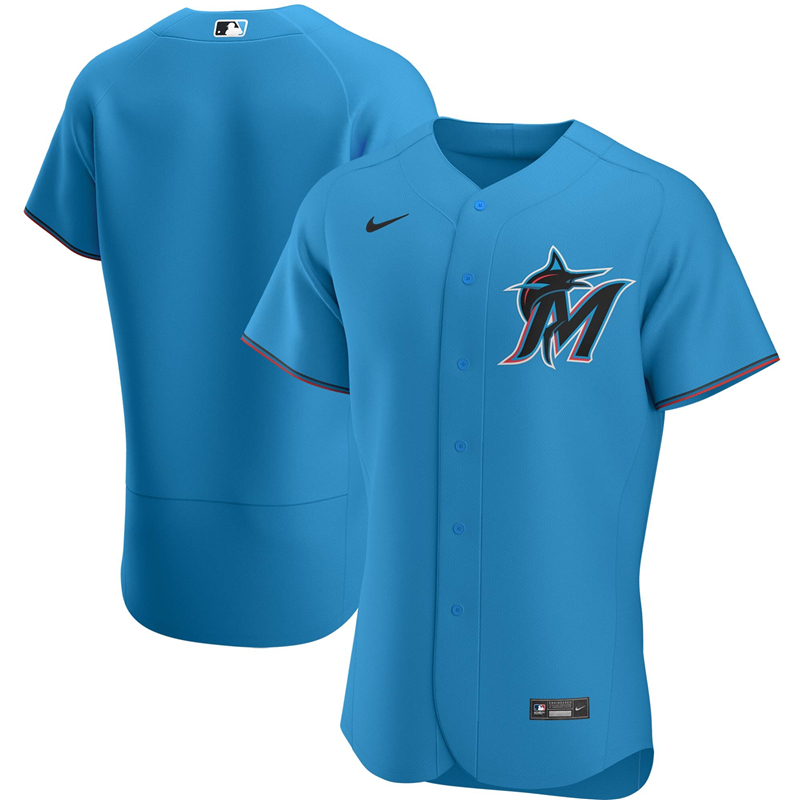2020 MLB Men Miami Marlins Nike Blue Alternate 2020 Authentic Team Jersey 1