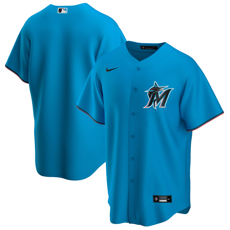 2020 MLB Men Miami Marlins Nike Blue Alternate 2020 Official Replica Team Jersey 1