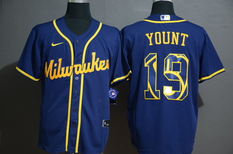 2020 MLB Men Milwaukee Brewers 19 Yount Nike blue 2020 Authentic Player Jersey