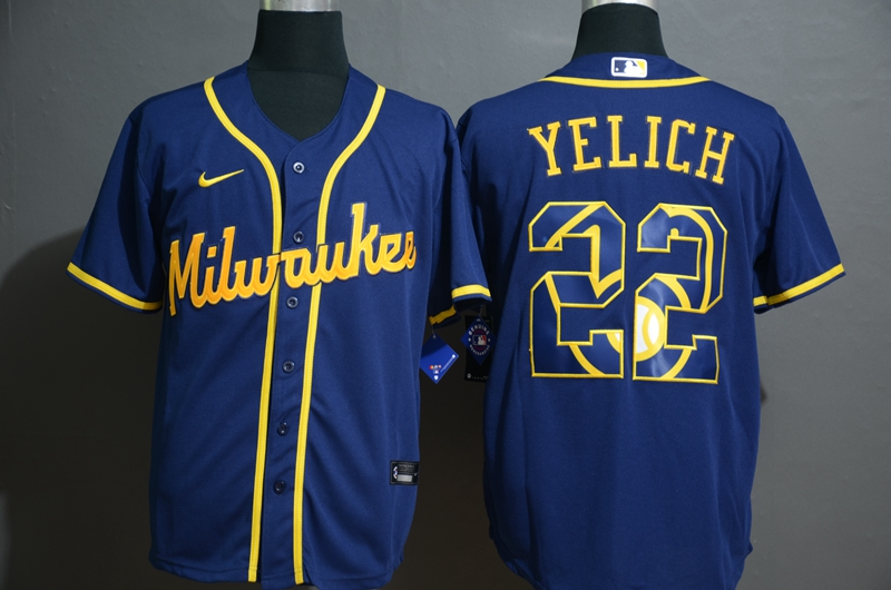 2020 MLB Men Milwaukee Brewers 22 Christian Yelich Nike blue Jersey