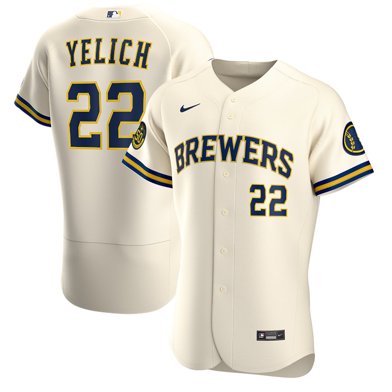 2020 MLB Men Milwaukee Brewers Christian Yelich Nike Cream Home 2020 Authentic Player Jersey 1