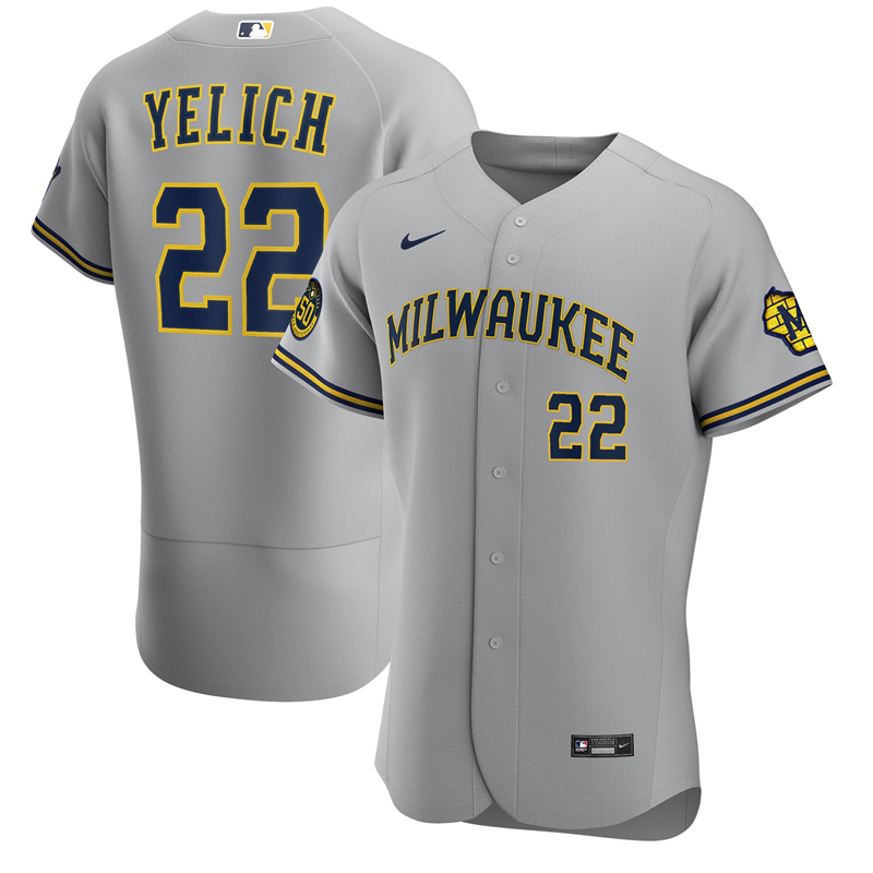 2020 MLB Men Milwaukee Brewers Christian Yelich Nike Gray Road 2020 Authentic Player Jersey 1