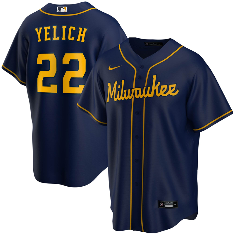2020 MLB Men Milwaukee Brewers Christian Yelich Nike Navy Alternate 2020 Replica Player Jersey 1
