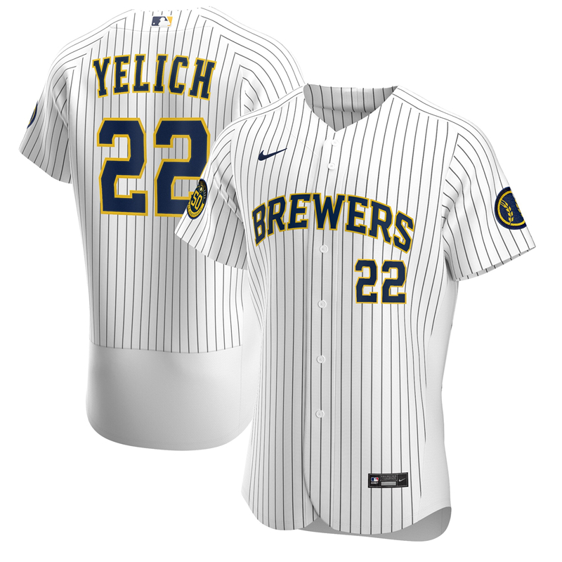 2020 MLB Men Milwaukee Brewers Christian Yelich Nike White Alternate 2020 Authentic Player Jersey 2