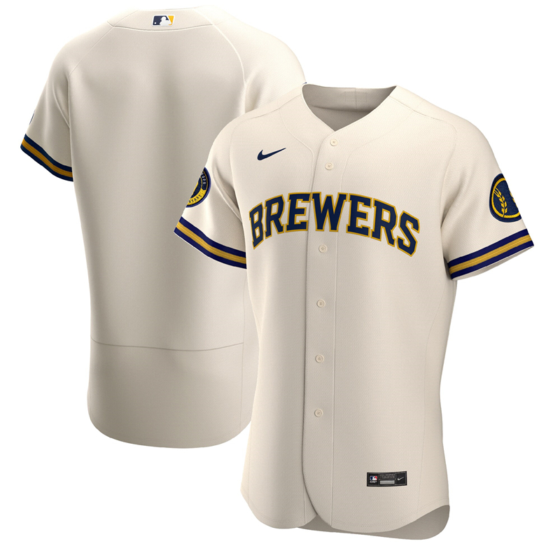 2020 MLB Men Milwaukee Brewers Nike Cream Home 2020 Authentic Team Jersey 1