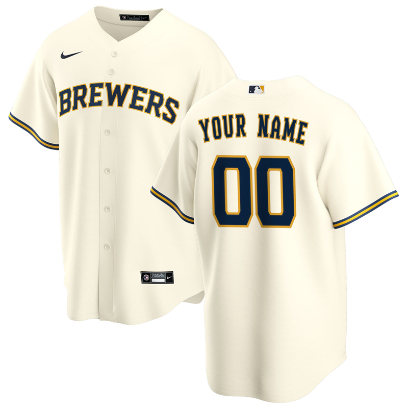 2020 MLB Men Milwaukee Brewers Nike Cream Home 2020 Replica Custom Jersey 1