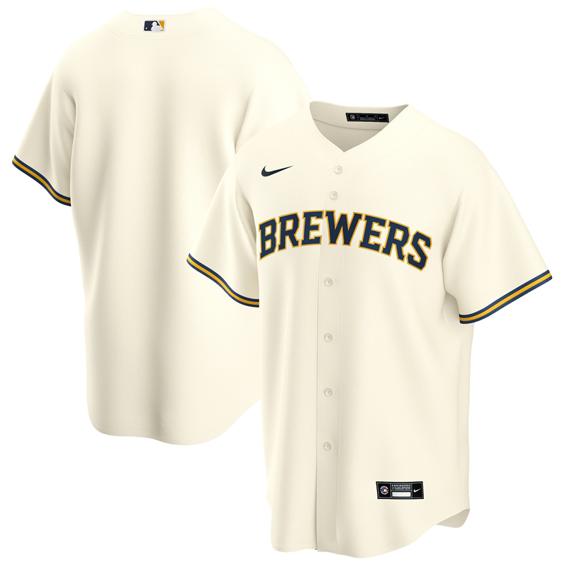 2020 MLB Men Milwaukee Brewers Nike Cream Home 2020 Replica Team Jersey 1