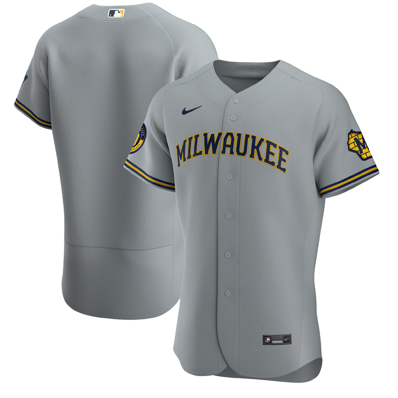 2020 MLB Men Milwaukee Brewers Nike Gray Road 2020 Authentic Team Jersey 1