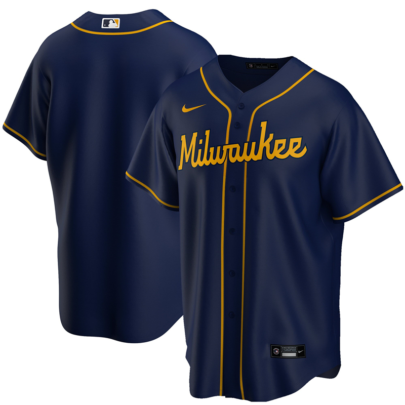 2020 MLB Men Milwaukee Brewers Nike Navy Alternate 2020 Replica Team Jersey 1