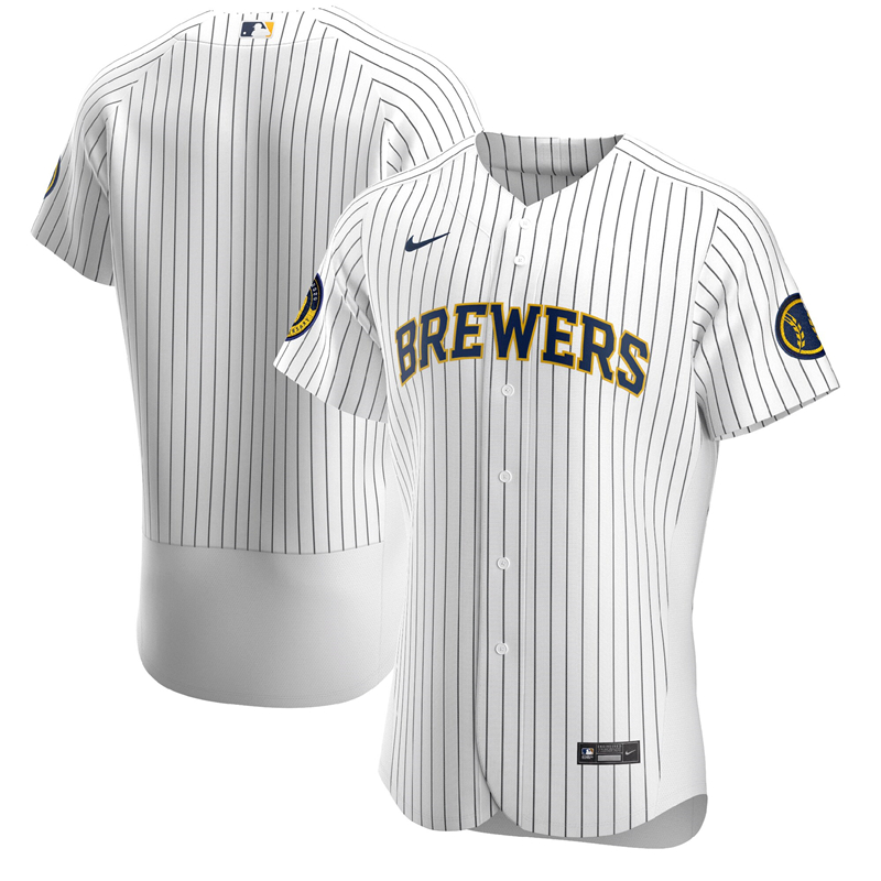 2020 MLB Men Milwaukee Brewers Nike White Alternate 2020 Authentic Team Jersey 1