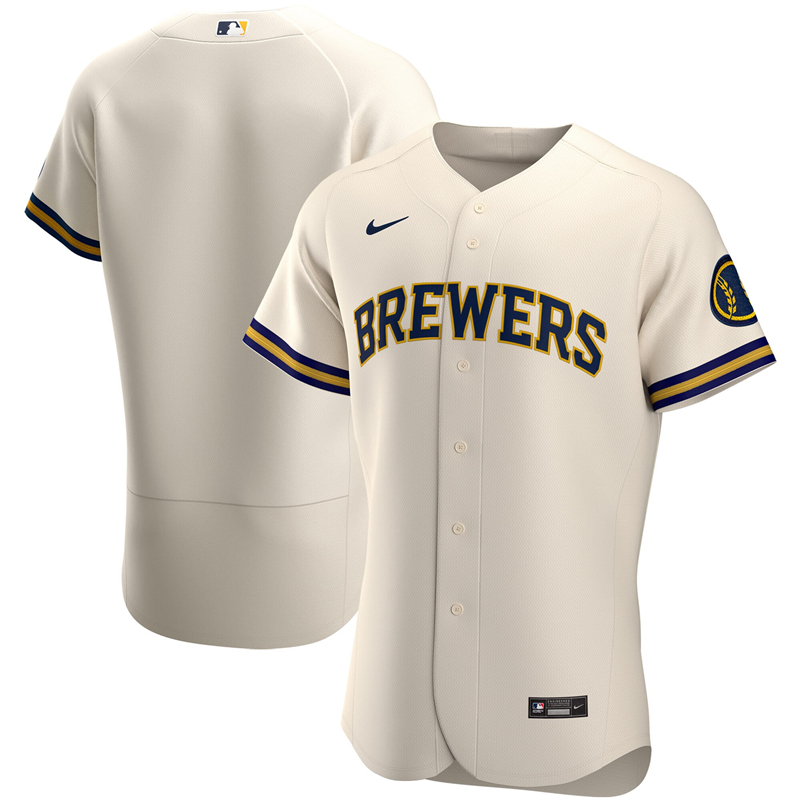 2020 MLB Men Milwaukee Brewers Nike White Home 2020 Authentic Jersey 1