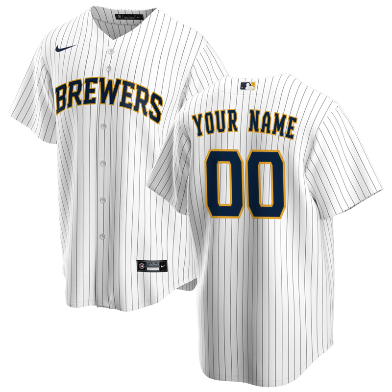 2020 MLB Men Milwaukee Brewers Nike White Navy Alternate 2020 Replica Custom Jersey 1