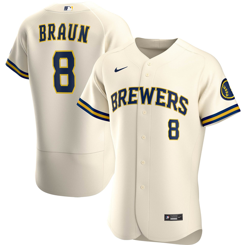 2020 MLB Men Milwaukee Brewers Ryan Braun Nike Cream Home 2020 Authentic Player Jersey 1