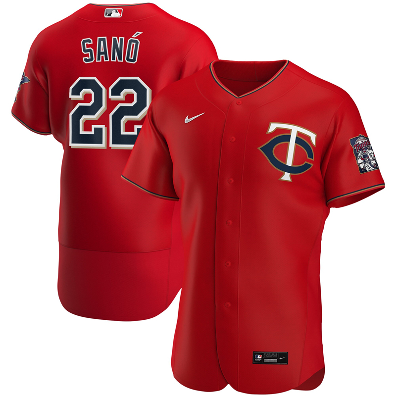 2020 MLB Men Minnesota Twins 22 Miguel Sano Nike Red Alternate 2020 Authentic Player Jersey 1