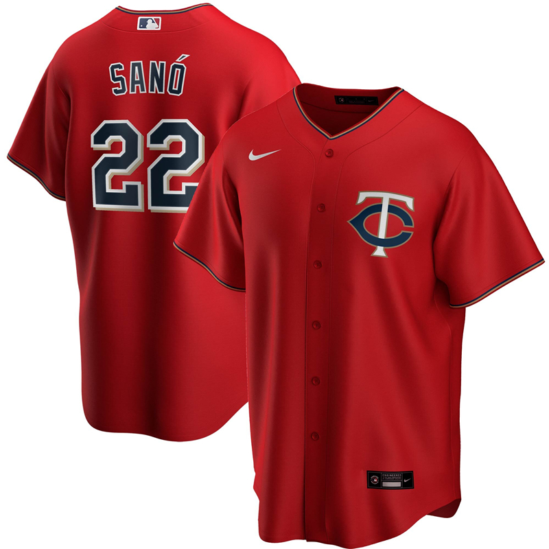 2020 MLB Men Minnesota Twins 22 Miguel Sano Nike Red Alternate 2020 Replica Player Jersey 1