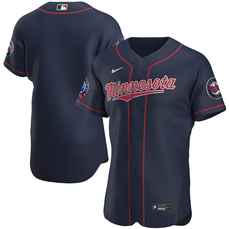 2020 MLB Men Minnesota Twins Nike Navy Alternate 2020 60th Season Authentic Team Jersey 1
