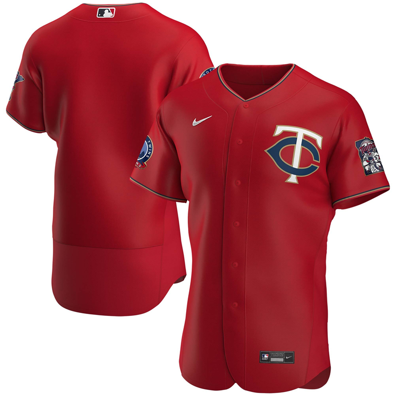 2020 MLB Men Minnesota Twins Nike Red Alternate 2020 60th Season Authentic Team Jersey 1