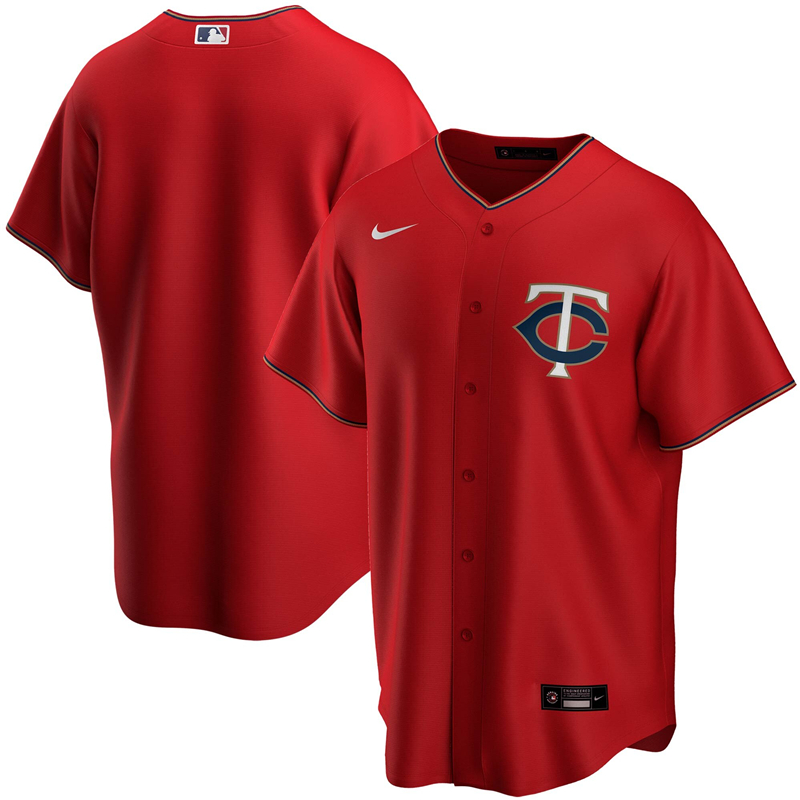 2020 MLB Men Minnesota Twins Nike Red Alternate 2020 Replica Team Jersey 1