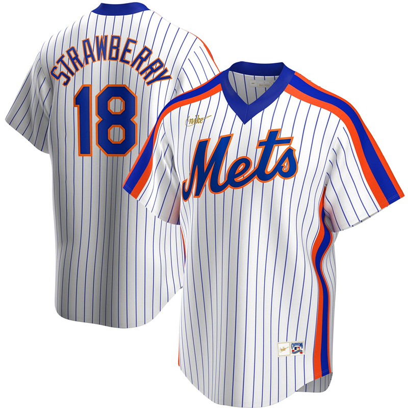 2020 MLB Men New York Mets 18 Darryl Strawberry Nike White Home Cooperstown Collection Player Jersey 1