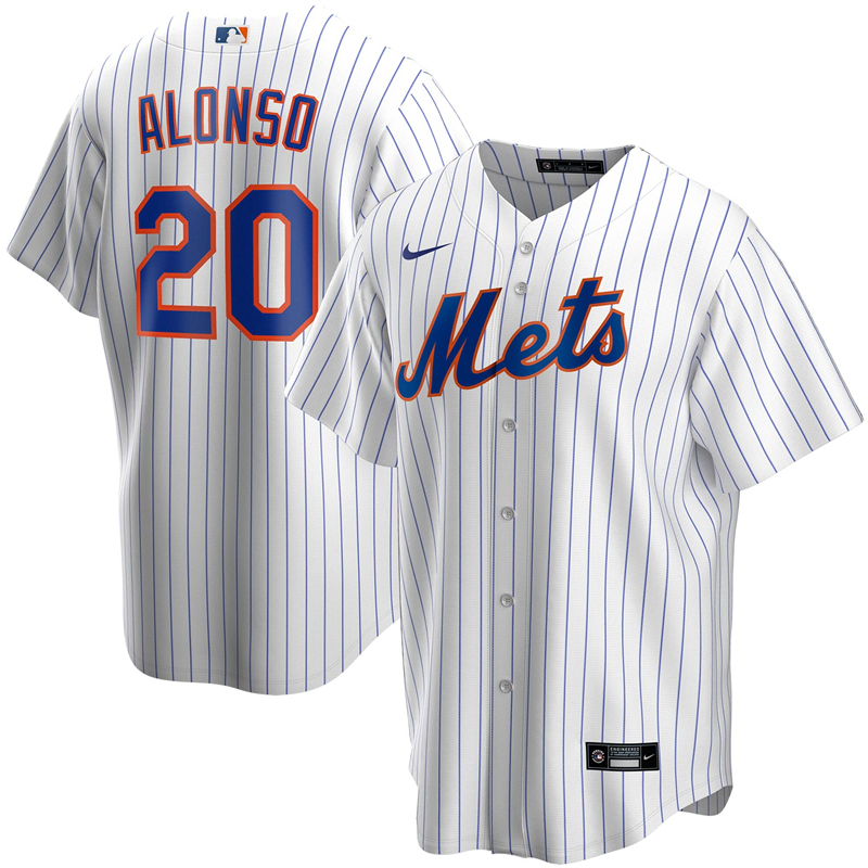 2020 MLB Men New York Mets 20 Pete Alonso Nike White Home 2020 Replica Player Jersey 1
