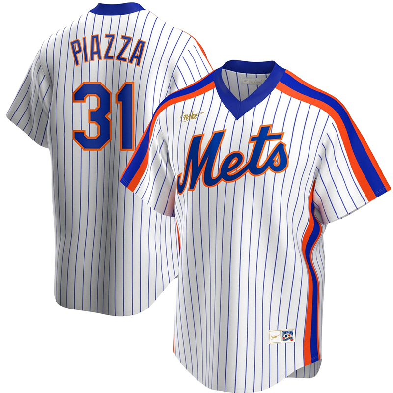 2020 MLB Men New York Mets 31 Mike Piazza Nike White Home Cooperstown Collection Player Jersey 1