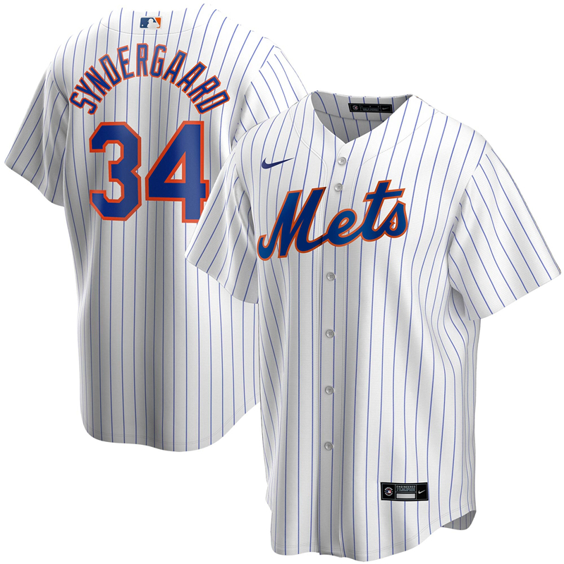2020 MLB Men New York Mets 34 Noah Syndergaard Nike White Home 2020 Replica Player Jersey 2