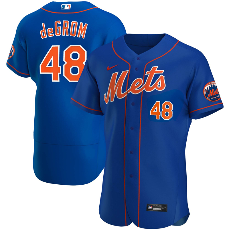 2020 MLB Men New York Mets 48 Jacob deGrom Nike Royal Alternate 2020 Authentic Player Jersey 1