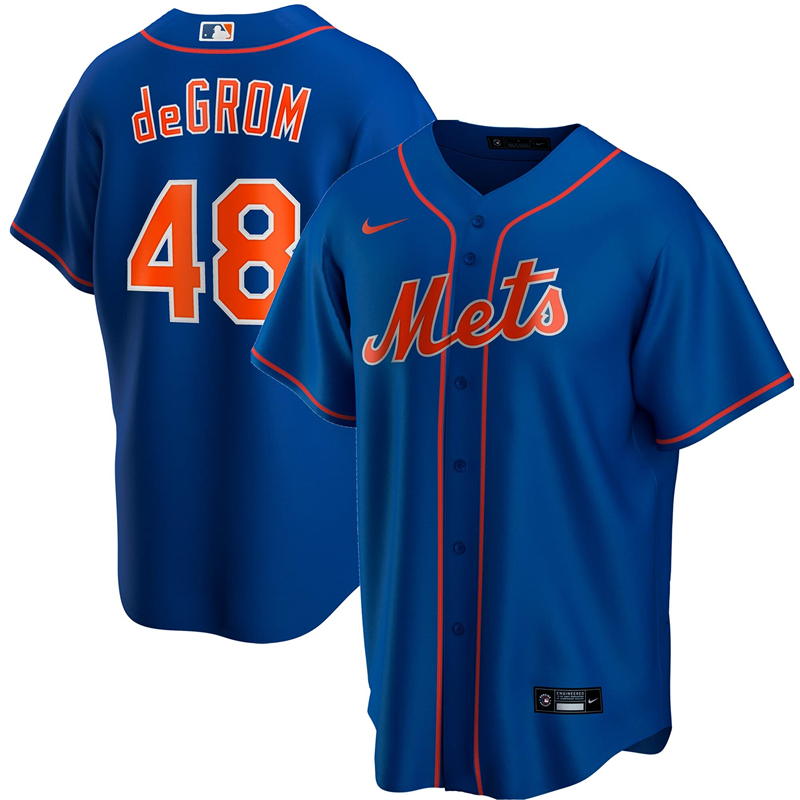 2020 MLB Men New York Mets 48 Jacob deGrom Nike Royal Alternate 2020 Replica Player Jersey 1