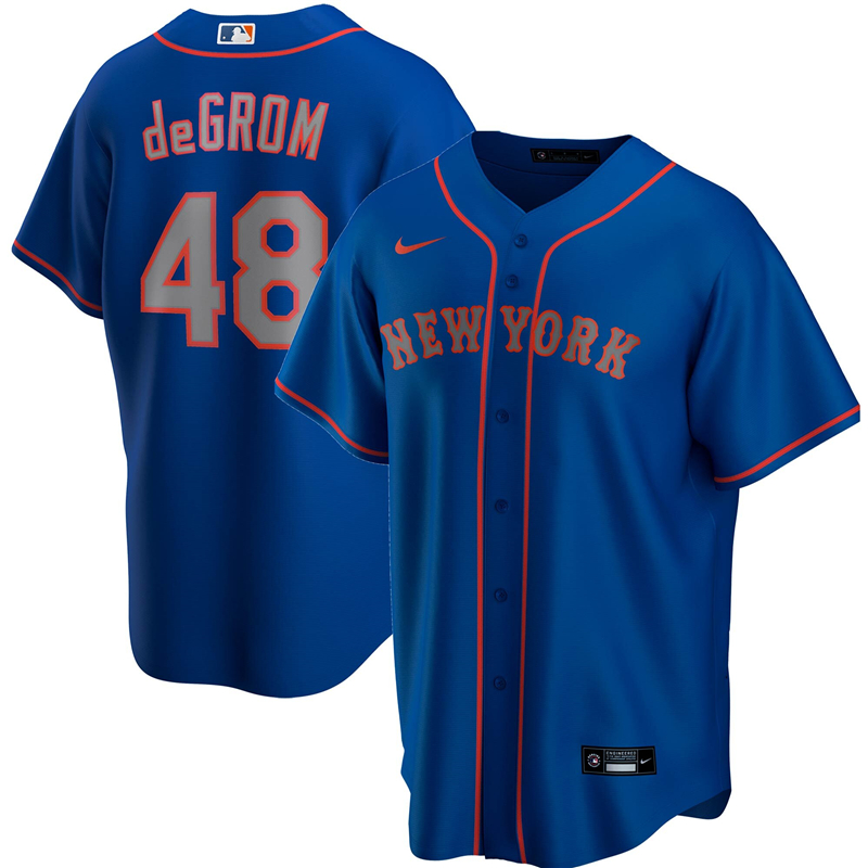 2020 MLB Men New York Mets 48 Jacob deGrom Nike Royal Alternate Road 2020 Replica Player Jersey 1
