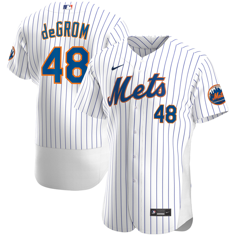 2020 MLB Men New York Mets 48 Jacob deGrom Nike White Home 2020 Authentic Player Jersey 1