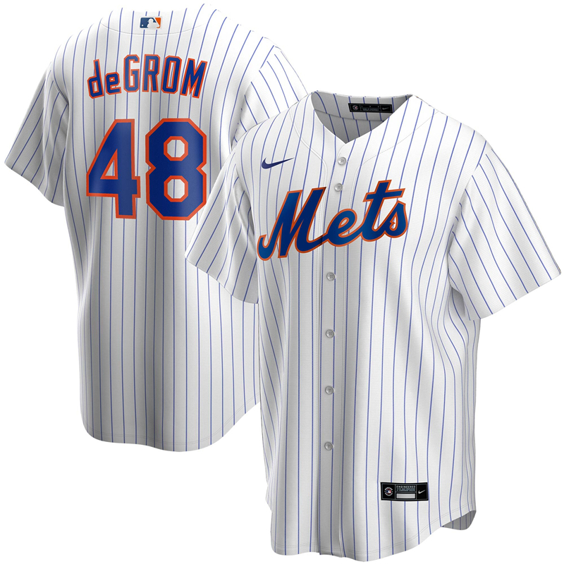 2020 MLB Men New York Mets 48 Jacob deGrom Nike White Home 2020 Replica Player Jersey 1