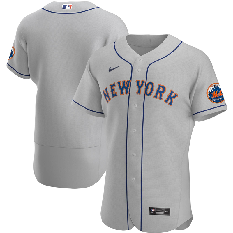 2020 MLB Men New York Mets Nike Gray Road 2020 Authentic Official Team Jersey 1