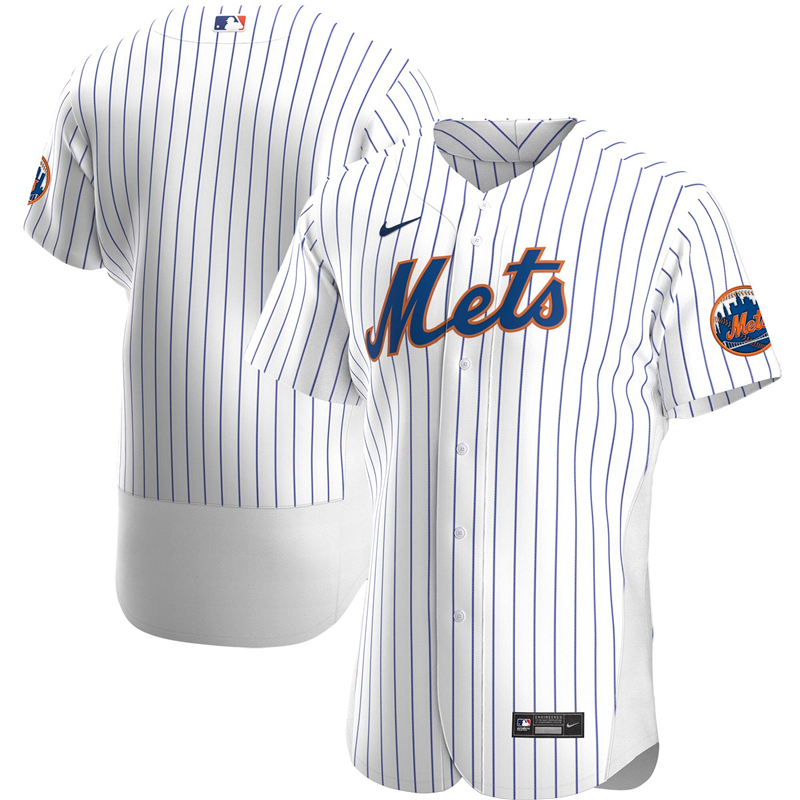 2020 MLB Men New York Mets Nike White Home 2020 Authentic Official Team Jersey 1