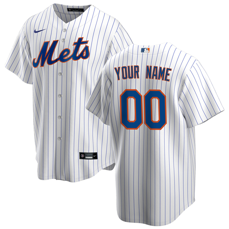 2020 MLB Men New York Mets Nike White Royal Home 2020 Replica Custom Jersey 1