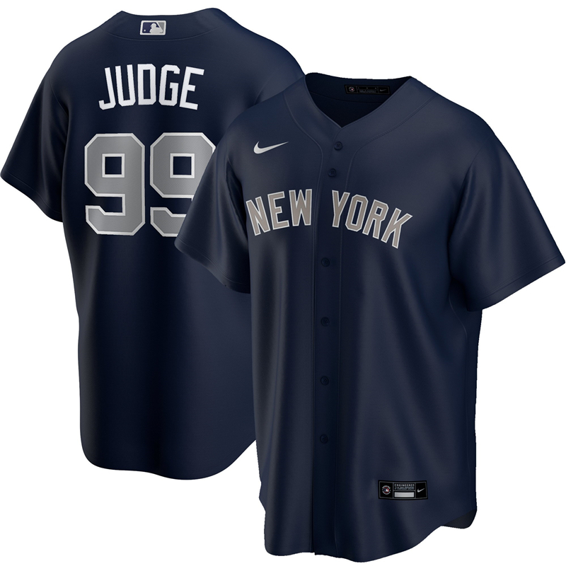 2020 MLB Men New York Yankees 99 Aaron Judge Nike Navy Alternate 2020 Replica Player Jersey 1