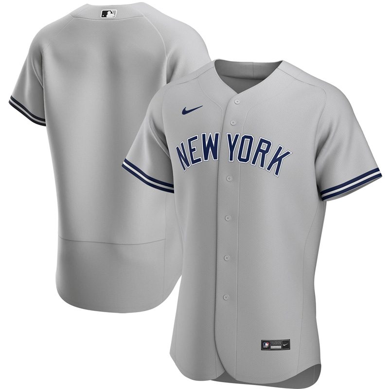 2020 MLB Men New York Yankees Nike Gray Road 2020 Authentic Team Jersey 1