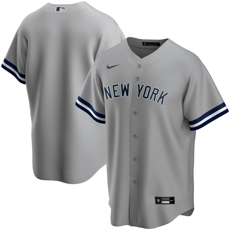 2020 MLB Men New York Yankees Nike Gray Road 2020 Replica Team Jersey 1