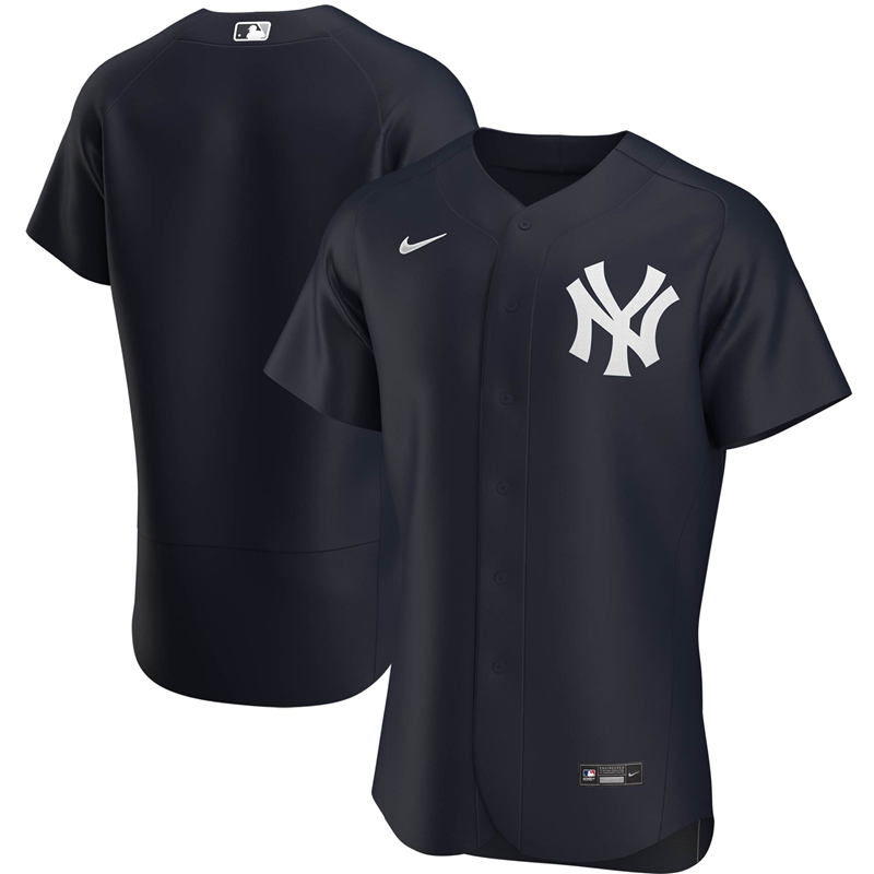 2020 MLB Men New York Yankees Nike Navy Alternate 2020 Authentic Official Team Jersey 1