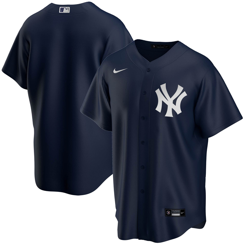 2020 MLB Men New York Yankees Nike Navy Alternate 2020 Replica Team Jersey 1